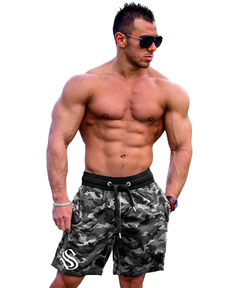 Mens Mid Shorts Mens Strong Liftwear S Grey Camo
