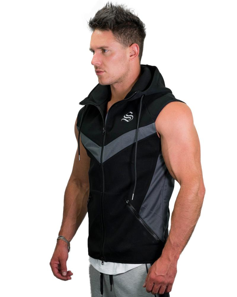 MeshTech Sleeveless Hoodie Mens Strong Liftwear S Black
