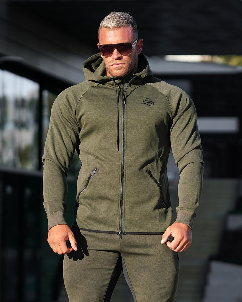 MeshTech Zipper Training Hoodie Mens Strong Liftwear S Olive