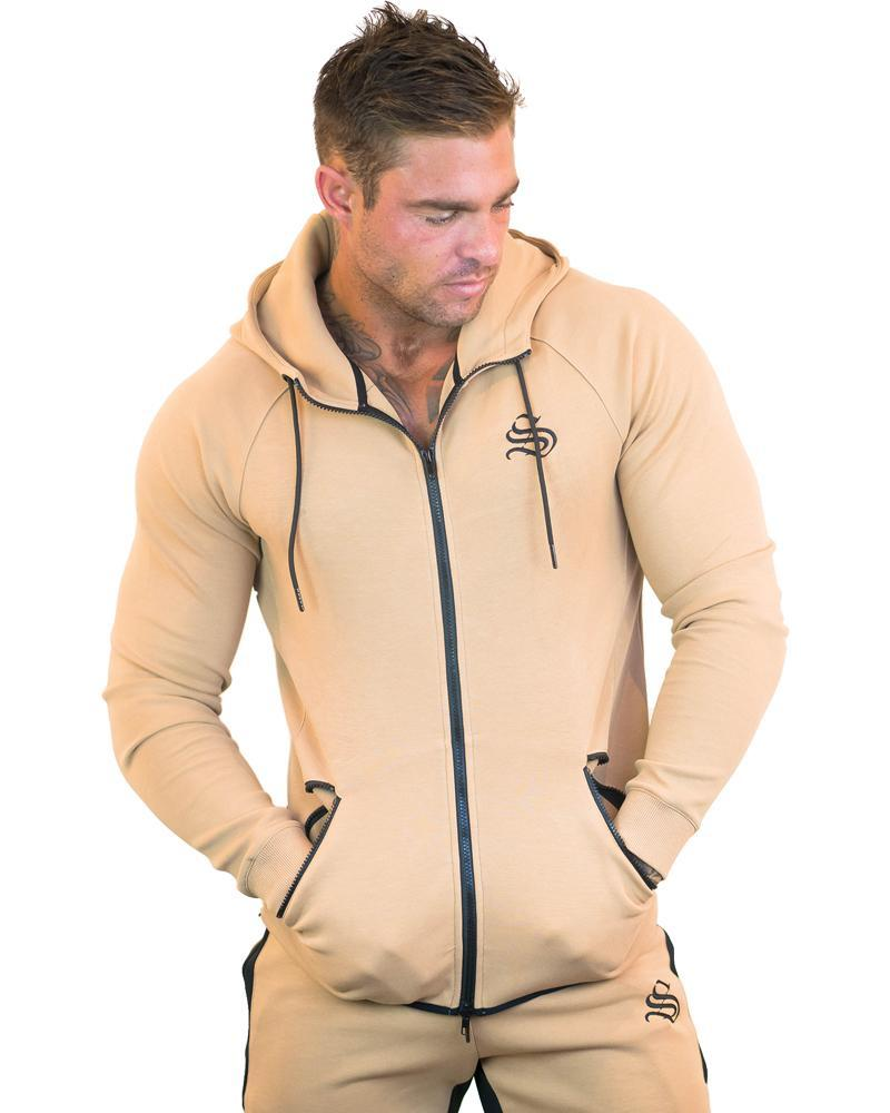 MeshTech Zipper Training Hoodie Mens Strong Liftwear S Tan