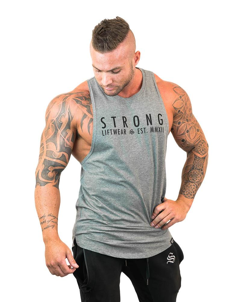 Strong Longline Boulder Sleeveless - Grey Mens Strong Liftwear