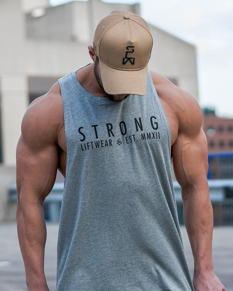 Strong Longline Boulder Sleeveless - Grey Mens Strong Liftwear S