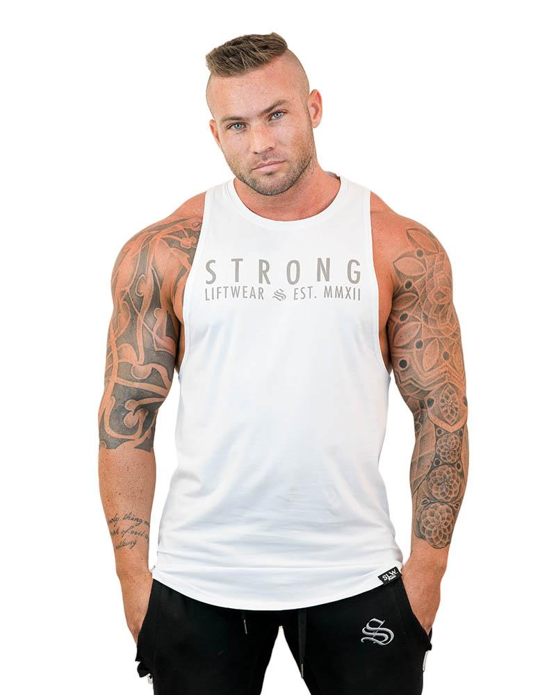 Strong Longline Boulder Sleeveless Mens Strong Liftwear S White