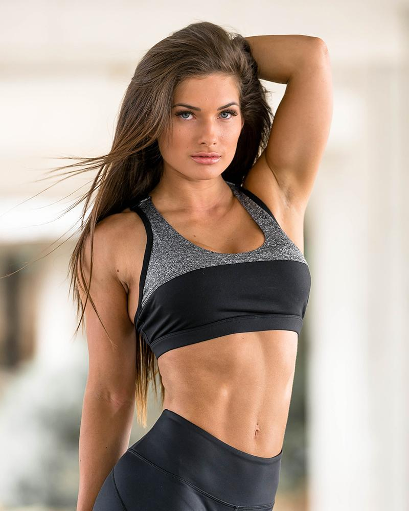 Two Tone Sports Bra Womens Strong Liftwear XS Black/Grey