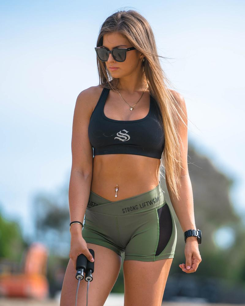 V Waist Performance Shorts - Green Womens Strong Liftwear