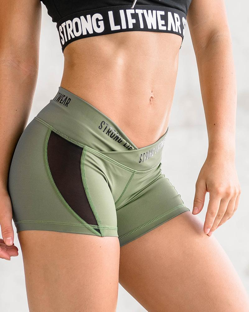 V Waist Performance Shorts - Green Womens Strong Liftwear S