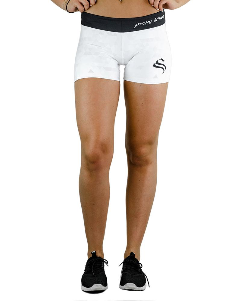 Women's Performance Shorts - Geo White Womens Strong Liftwear