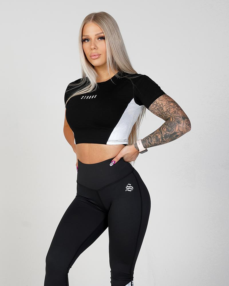 Women's Phoenix Crop Tee - Black & White Womens Strong Liftwear AUS