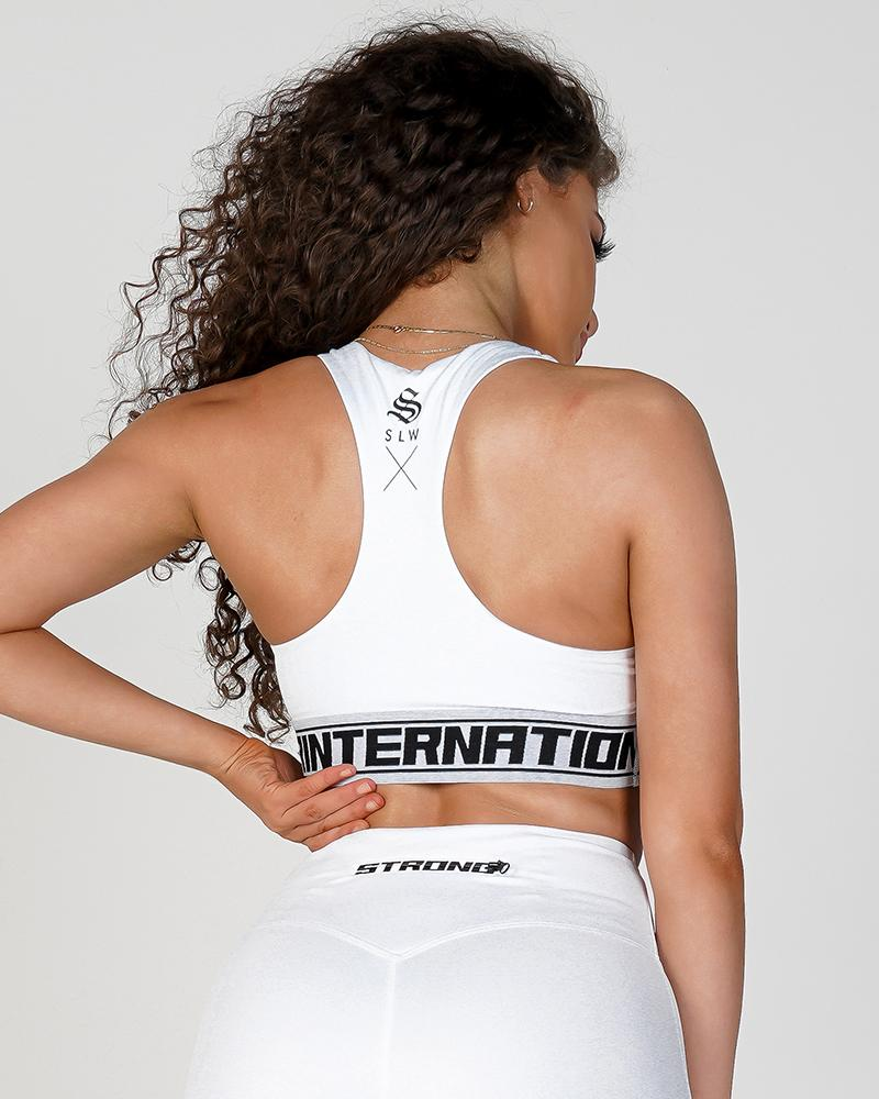 Women's Phoenix V-Neck Sports Bra - White Womens Strong Liftwear