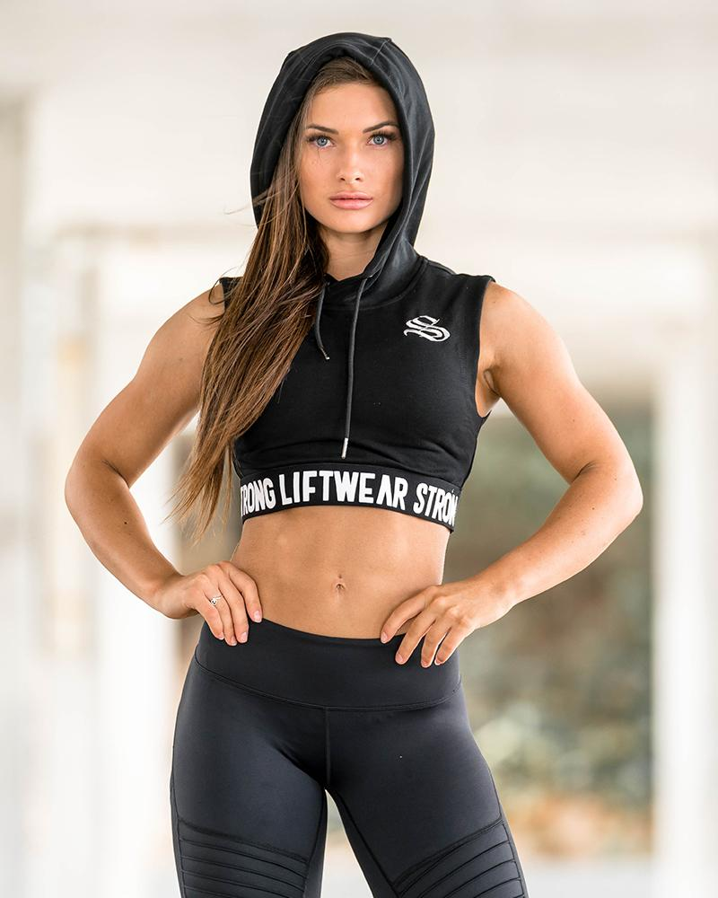 Women's Signature Cropped Hoodie - Black Womens Strong Liftwear