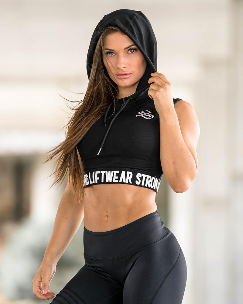 Women's Signature Cropped Hoodie - Black Womens Strong Liftwear L
