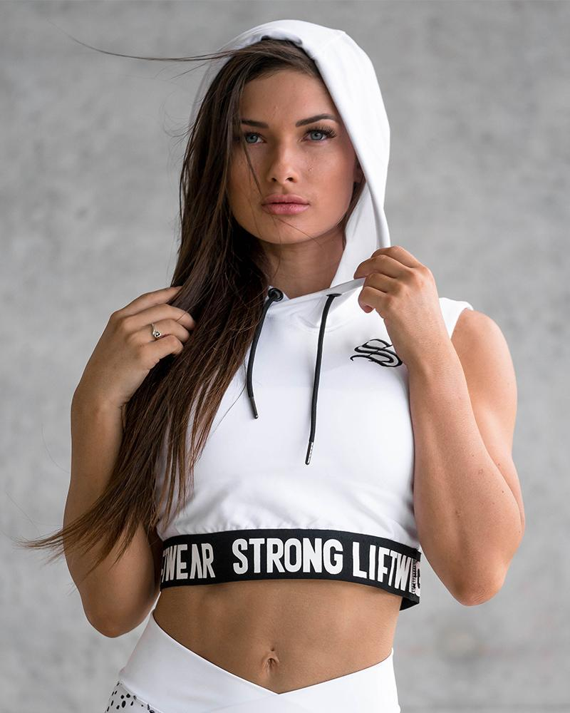 Womens Signature Cropped Hoodie Womens Strong Liftwear XS White