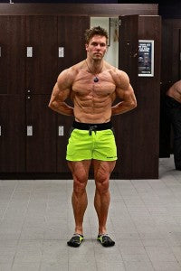 Aaron Curtis wears hyper yellow Lift Shorts
