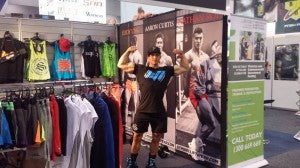 Nathan Roe at the Strong Lift Wear stall for FitX 2014