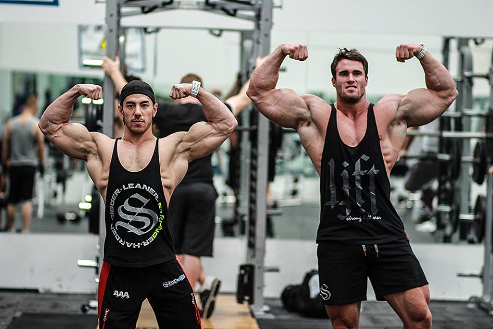 Eddy Ung & Calum Von Moger striking a pose in Strong Lift Wear!