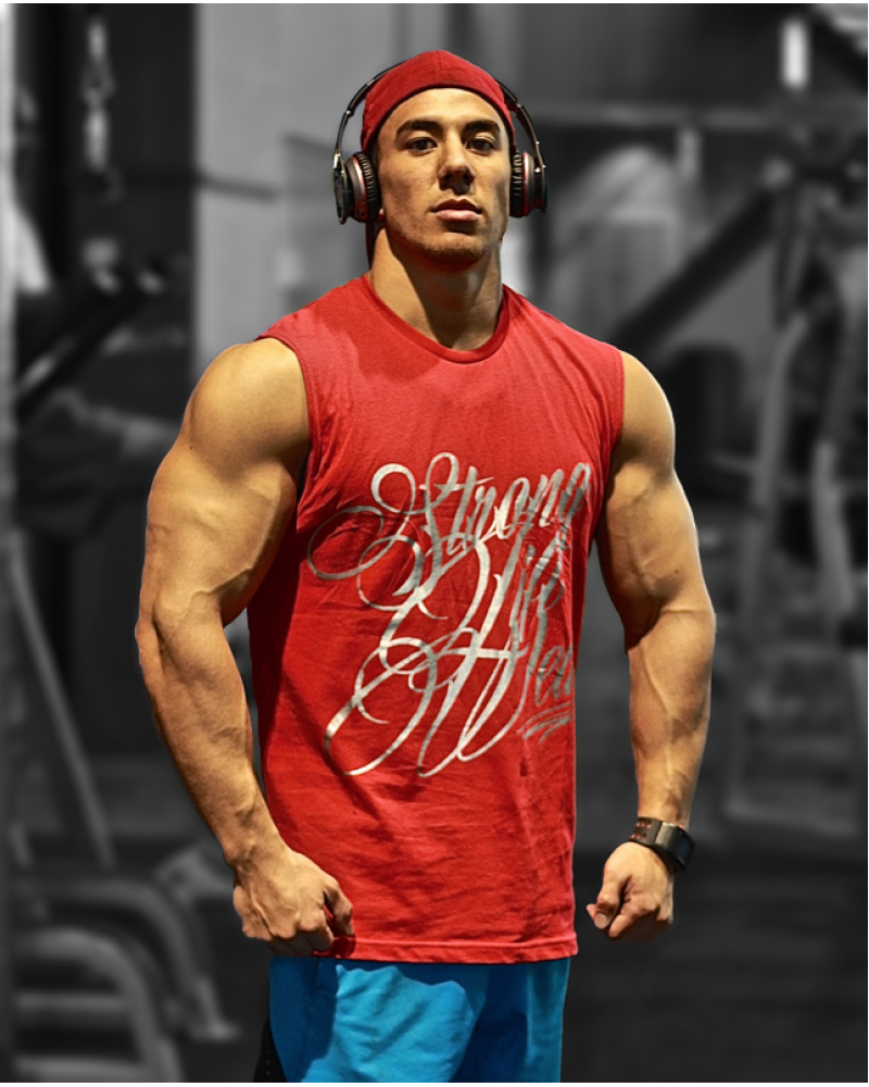 Eddy Ung repping the red Sleeveless Tee