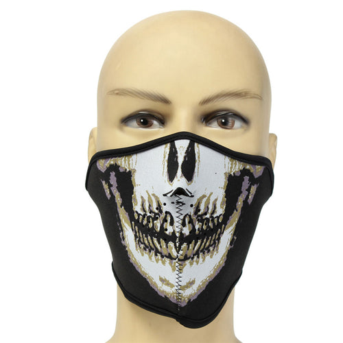 OUTERDO 1 Pcs Details about Neoprene HALF Face Reversible Biker Skateboard Motor Bike Scary Sports Mask
