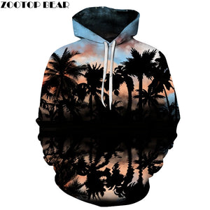 Palm Tree Printed 3D Hoodies