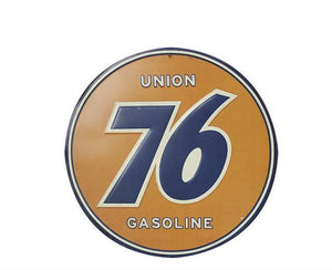 Plaque métallique ronde Union 76 Gasoline