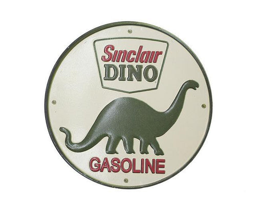 Plaque métallique ronde Sinclair Dino Gasoline