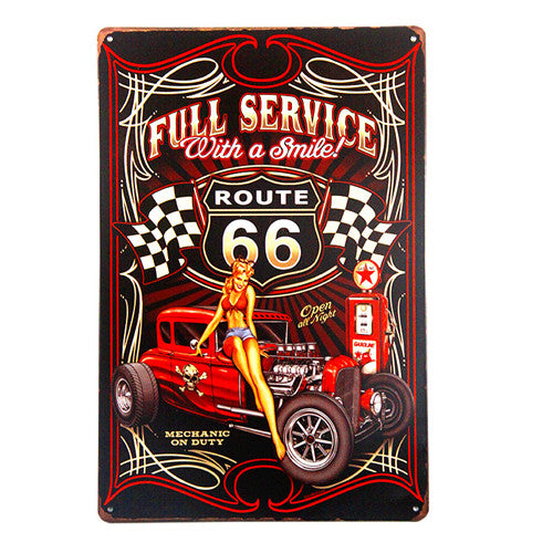Plaque métallique Hot Rod route 66 Full Service