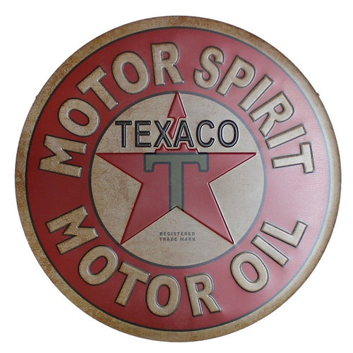 Plaque métallique ronde Texaco Motor Oil