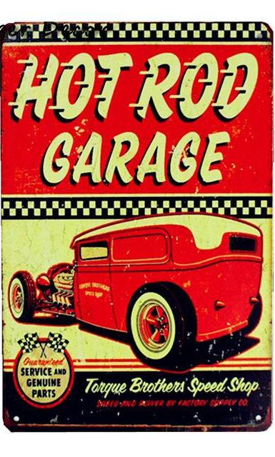 Plaque métallique Hot Rod Garage