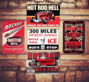 Plaque métallique Hot Rod Garage Hell
