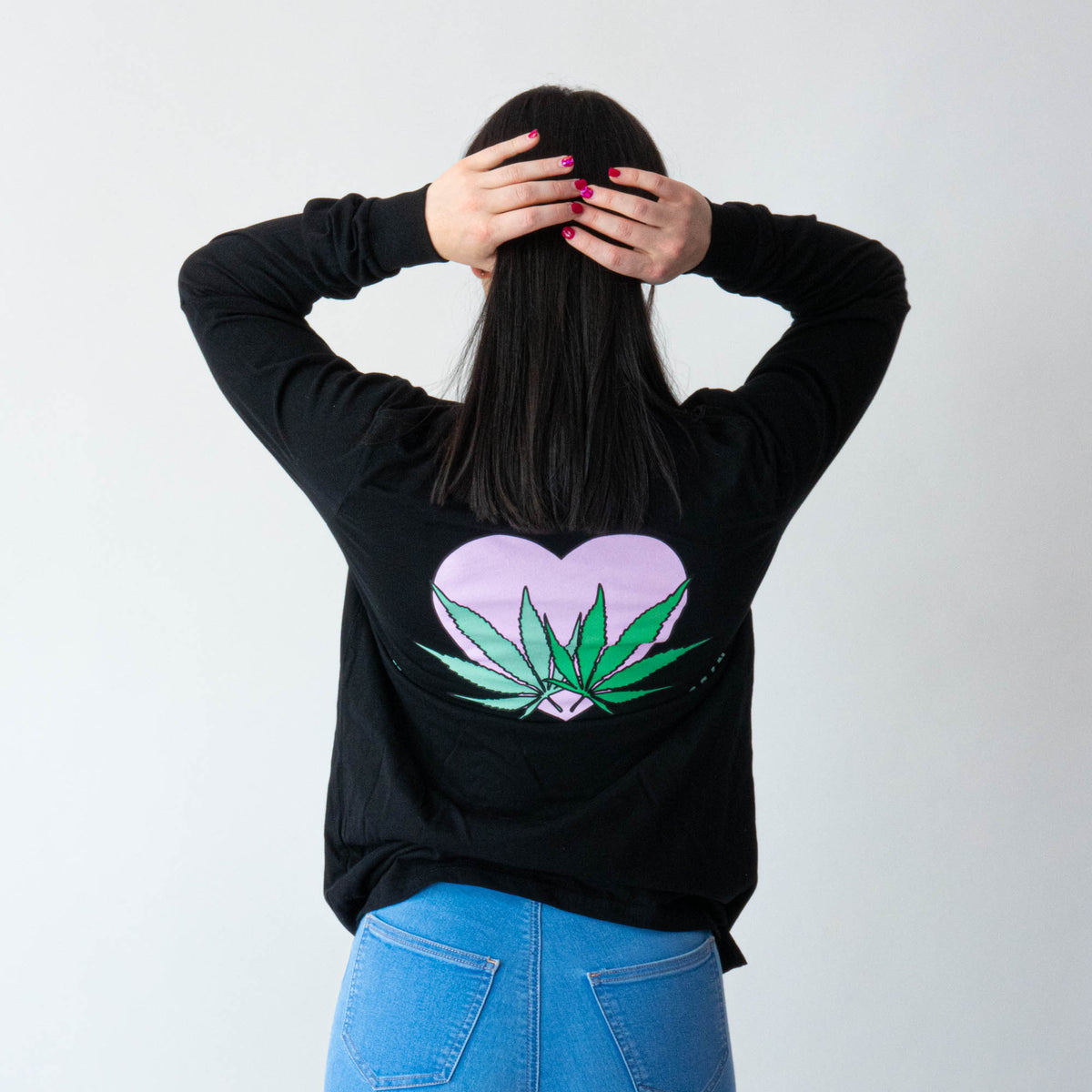 Love Your Greens Black Cotton Longsleeve (Unisex)