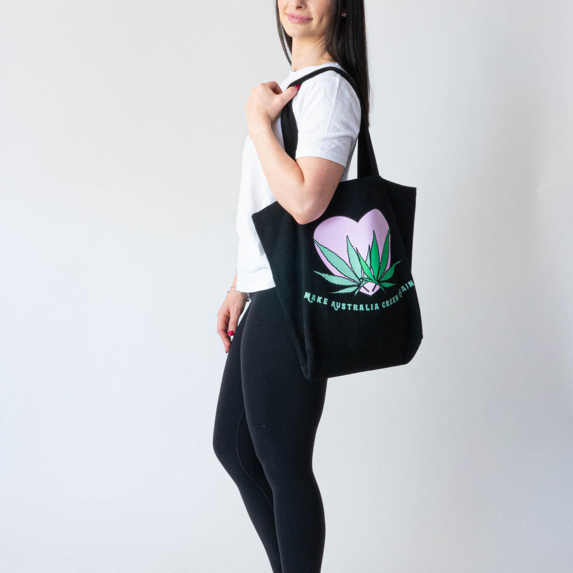 Love Your Greens Black Heavy Duty Tote Bag