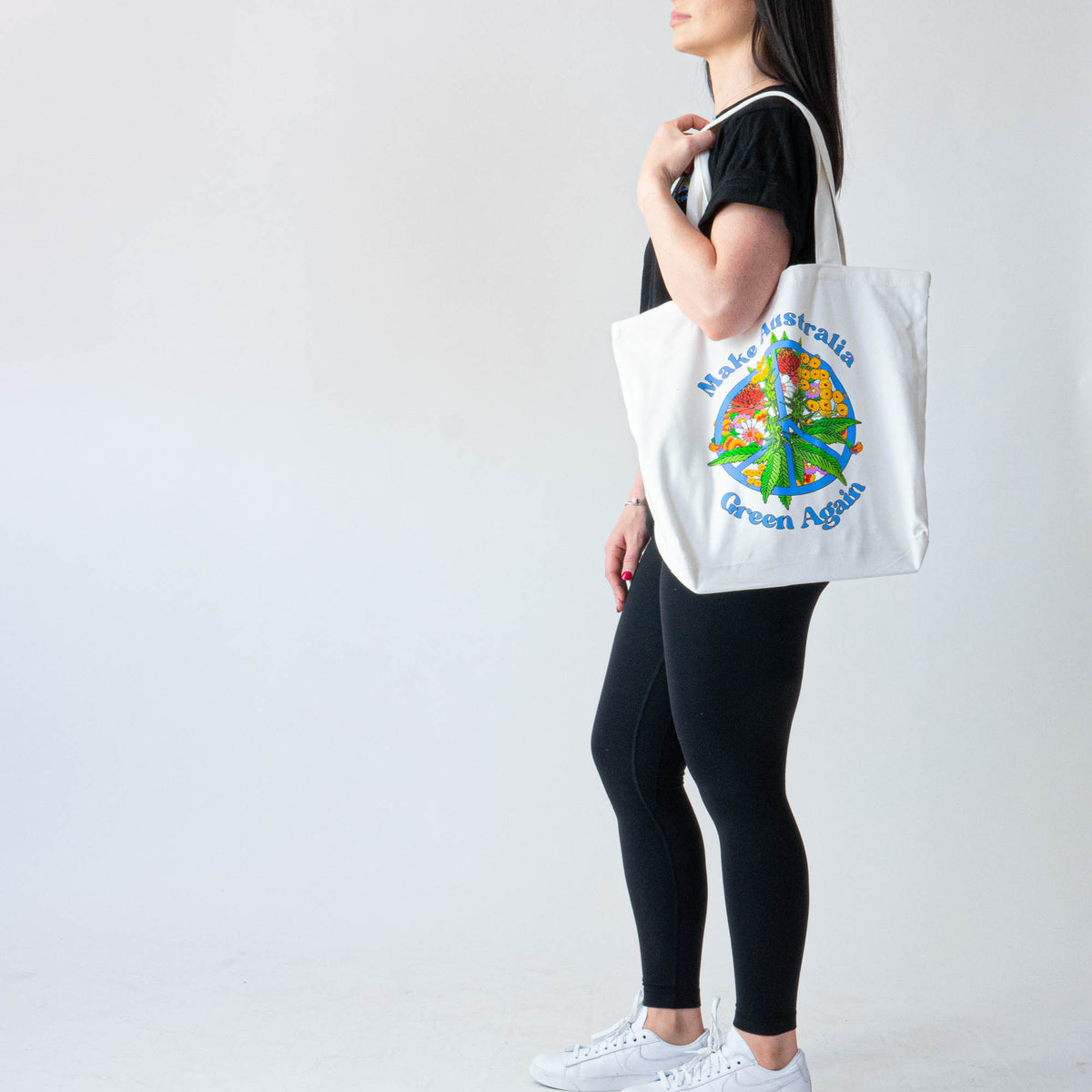 Green Peace White Heavy Duty Tote Bag