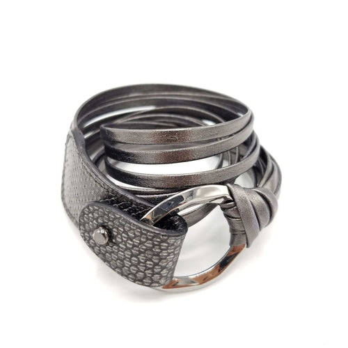 B938 Phyton leather Bracelet Anthracite - Selleria Veneta