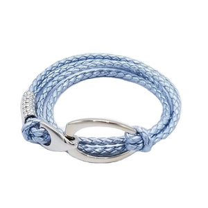 B103 Rope Style Leather Bracelet Light Blue - Selleria Veneta