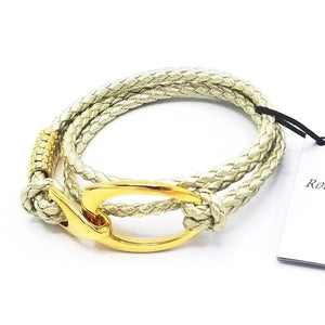 B103 Rope Style Leather Bracelet Platinum-Gold - Selleria Veneta