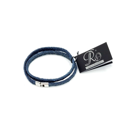 B157 Man-Unisex rope leather Bracelet Blue - Selleria Veneta