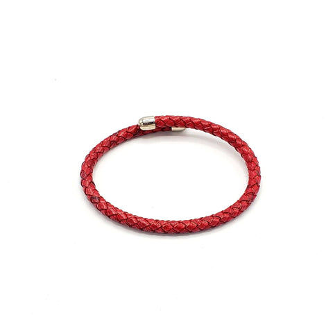 B110 Man-Unisex leather Bracelet Rosso