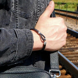 B177 Unisex leather with Silver hook Bracelet