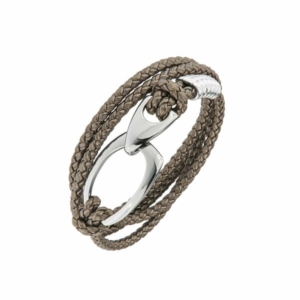 B103 Rope Style Leather Bracelet Anthracite - Selleria Veneta