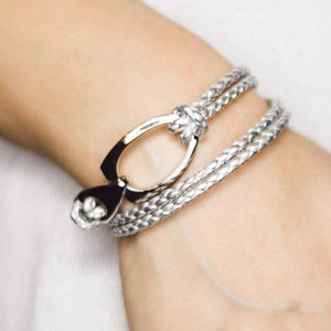 B103 Rope Style Leather Bracelet Silver - Selleria Veneta
