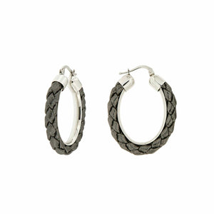 E07- Earrings oval shape - Leather Sterling Silver - Selleria Veneta