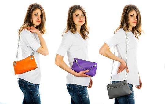 LG24 Tracollina - Small leather bag with chain Flake - Selleria Veneta