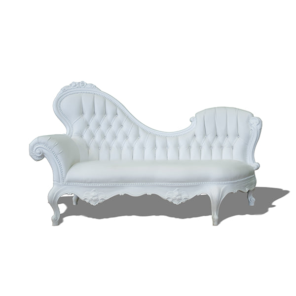 Chaise Lounge Style Baroque Droit - Blanc