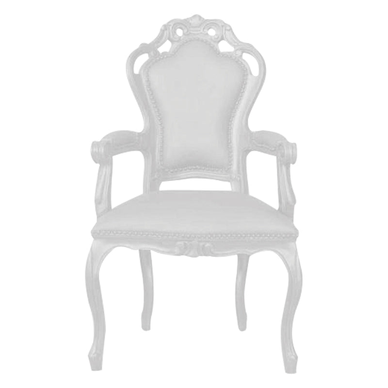 Chaise Style Baroque avec Bras - Blanc
