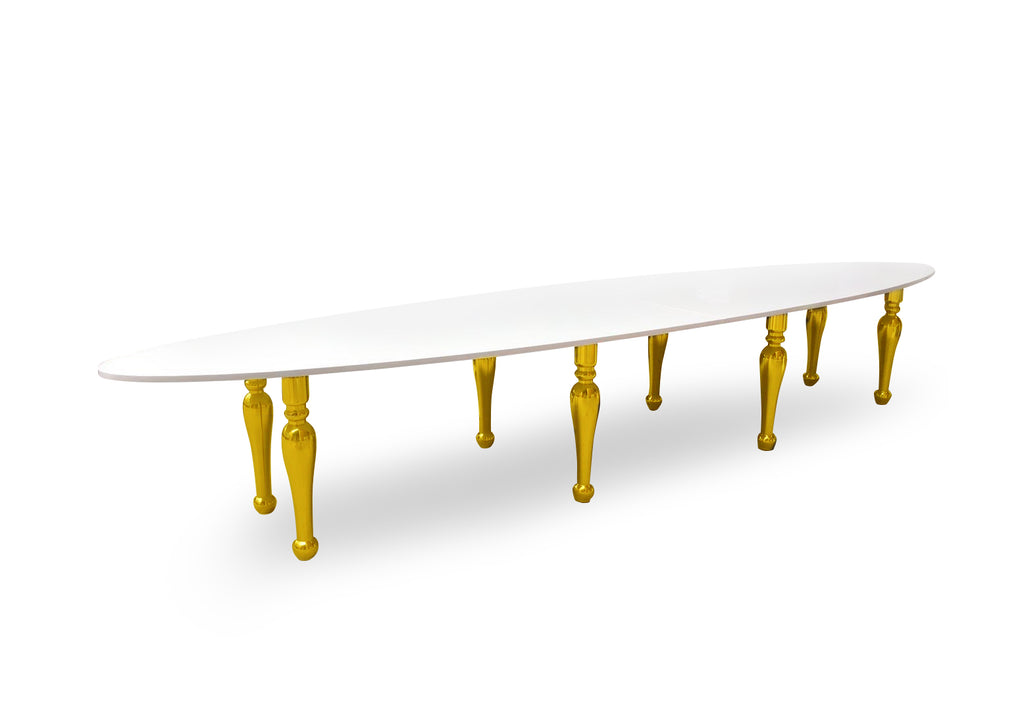 Table Ovale XL - Blanc et Or