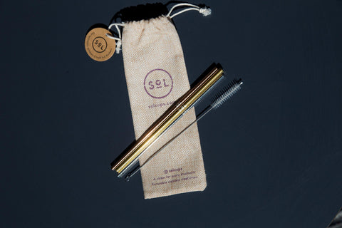image of a metal drinking straw and a cleaning brush, laying on a small jute bag
