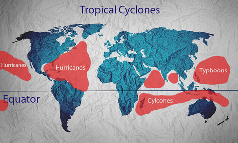 map showing locations of tropical cyclones
