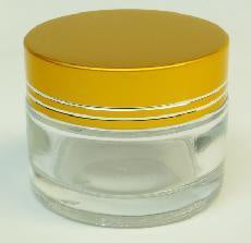 Jar clear glass gold cap 40 ml #6321-Beauty Zone Nail Supply