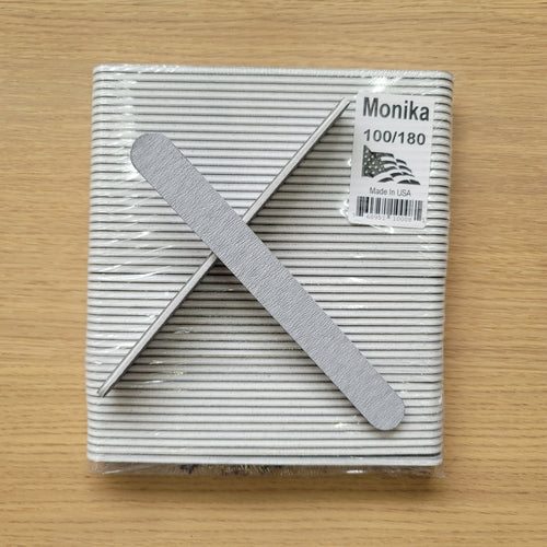 Monika Nail File Zebra Grit 100/180 USA Pack 50 pc F526-Beauty Zone Nail Supply
