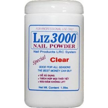 LIZ 3000 POWDER CLEAR 1.5 LBS #144-Beauty Zone Nail Supply