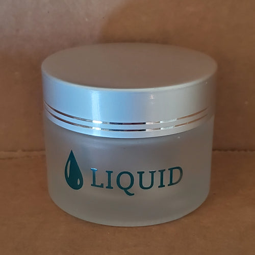 Jar frosted glass silver cap liquid-Beauty Zone Nail Supply